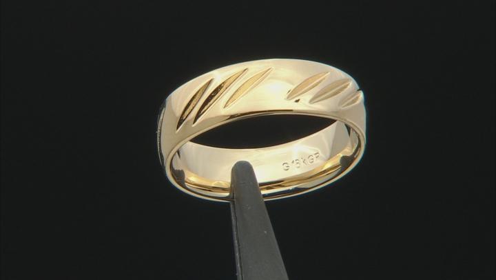 Moda Al Massimo® 18k Yellow Gold Over Bronze Comfort Fit Diamond Cut 6MM Band Ring
