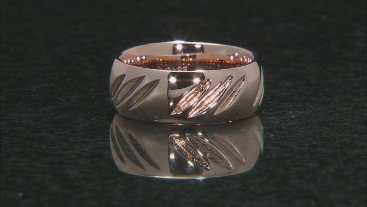 Moda Al Massimo® 18k Rose Gold Over Bronze Comfort Fit 8MM Diamond Cut Band Ring