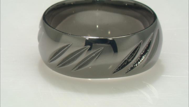 Moda Al Massimo® Gunmetal Rhodium Over Bronze Comfort Fit 8MM Diamond Cut Band Ring.