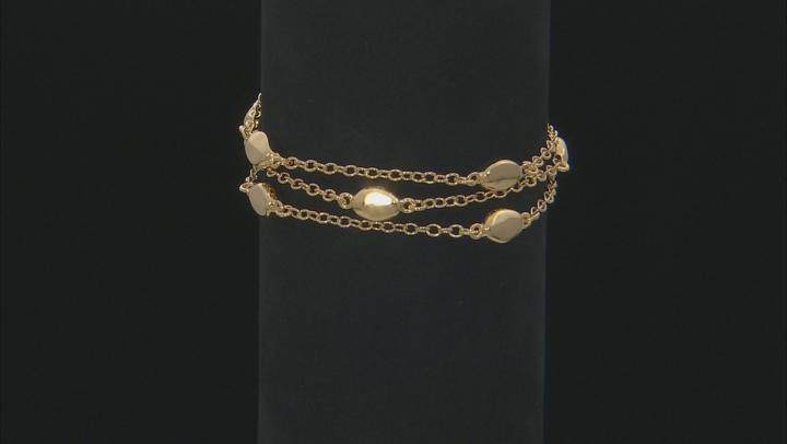 18k Yellow Gold Over Bronze Station Bracelet.