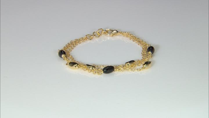.75ctw Black Onyx 18k Yellow Gold Over Bronze Bracelet.