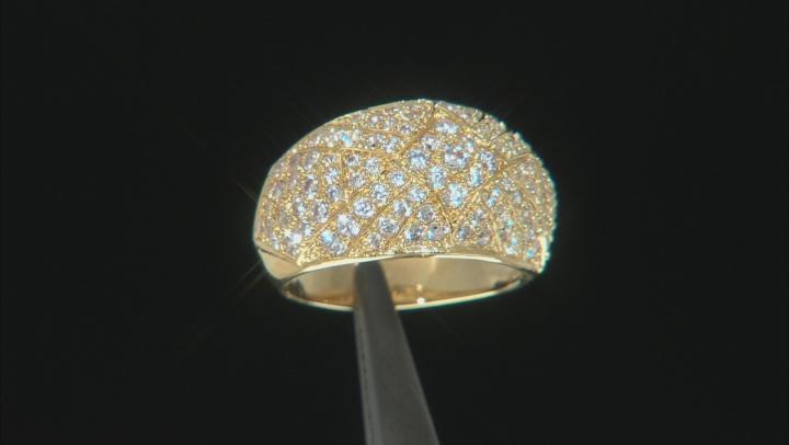 White Cubic Zirconia 18K Yellow Gold Over Bronze Ring
