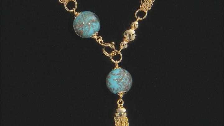 MODA AL MASSIMO™ 18K Yellow Gold Over Bronze Multi-strand Tassle Stationed Front Clasp Necklace 20
