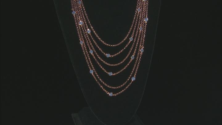 MODA AL MASSIMO™ 18K Rose Gold Over Bronze Strand Layered Necklace Lavender Crystals 22