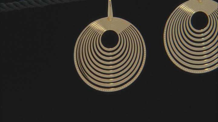 Moda Al Massimo 18K Yellow Gold Over Bronze Laser Cut Multi-Layer Earrings