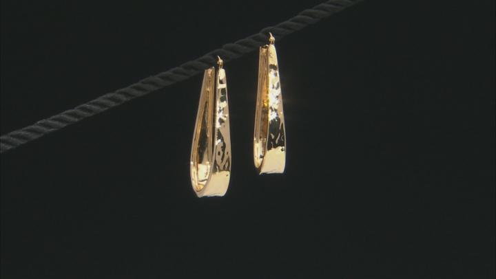 Moda Al Massimo 18k Yellow Gold Over Bronze Hammered Tear Drop Hoop Earrings