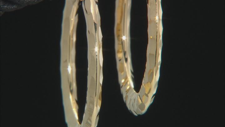 18k Yellow Gold Over Bronze Hammered Hoop Earrings