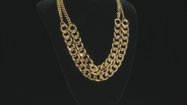 Moda Al Massimo ® 18k Yellow Gold Over Bronze Multi Row 15.25MM Curb Chain Necklace 19 inch