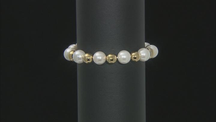 Moda Al Massimo™ 18K Yellow Gold Over Bronze Pearl Simulant Station Gold Bead Stretch 8