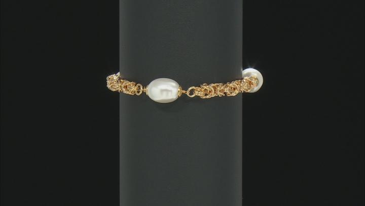 "Moda Al Massimo™ 18K Yellow Gold Over Bronze Pearl Simulant Station 9"" Bracelet"