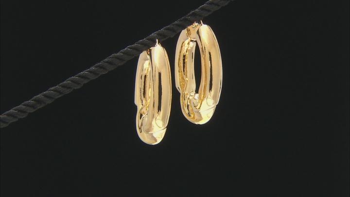18K Yellow Gold Over Bronze Center Twist Tube Hoop Earrings