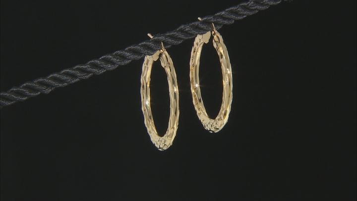 Moda Al Massimo™ 18K Yellow Gold Over Bronze Hammered Hoop Earrings
