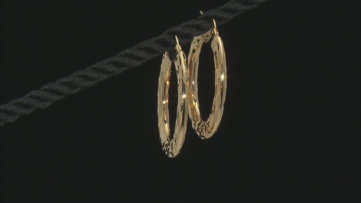Moda Al Massimo™ 18K Yellow Gold Over Bronze 19.3MM Hammered Hoop Earrings