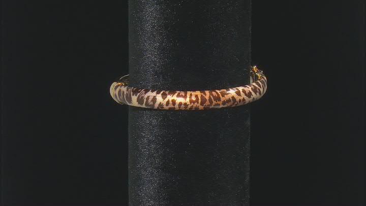Moda Al Massimo™ 18K Yellow Gold Over Bronze Leopard Enamel Oval 7 Inch Bracelet