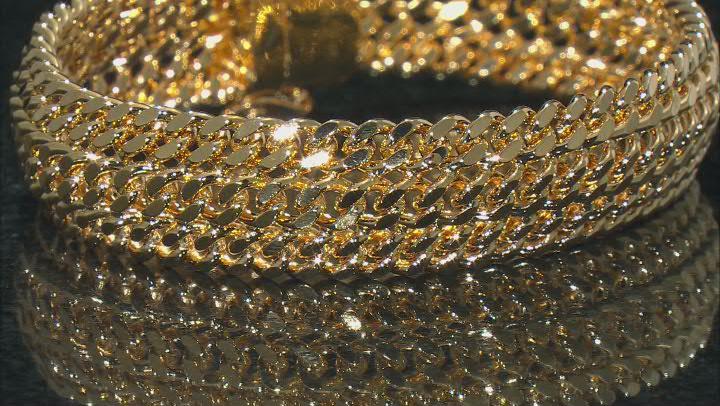 18K Yellow Gold Over Bronze 14.8MM Diamond-Cut Triple Curb Link Bracelet
