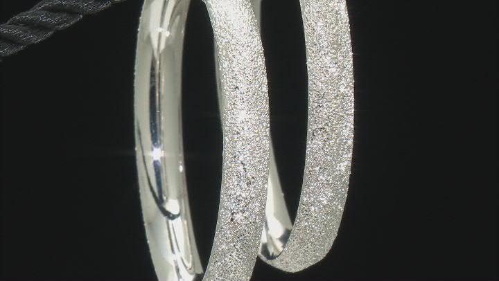 Rhodium Over Bronze 50MM Textured Tube Hoop Earrings