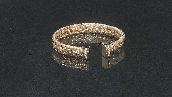 White Cubic Zirconia 18K Yellow Gold Over Bronze Woven Bangle