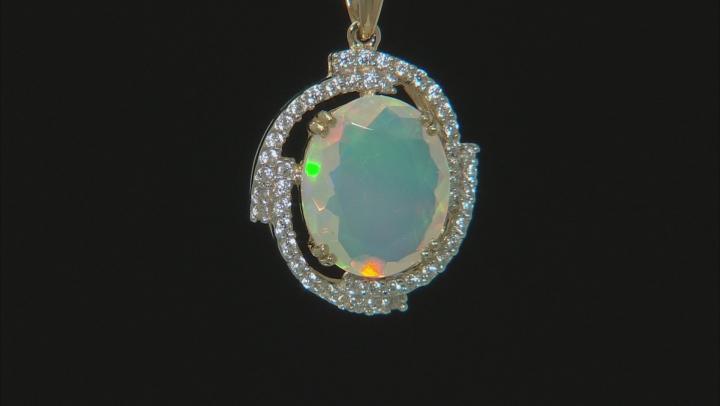 Multi Color Ethiopian Opal 10k Gold Pendant With Chain 2.44ctw.