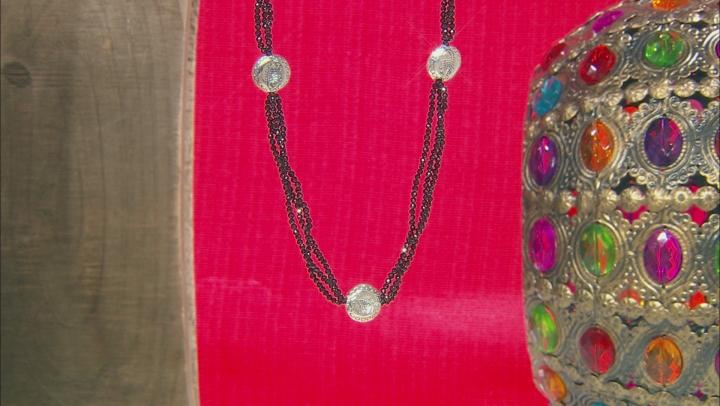Black Spinel Bead Silver Fish Skeleton Medallion Station Necklace