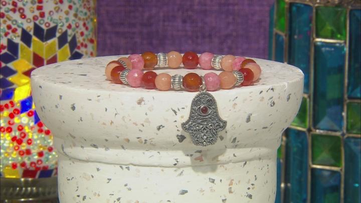 Pink, Peach, And Red Onyx Bead Silver Hamsa Hand Stretch Bracelet