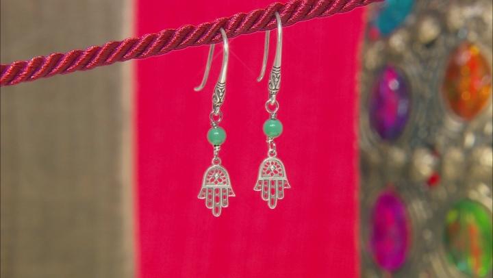 Green Onyx Bead Silver Hamsa Dangle Earrings