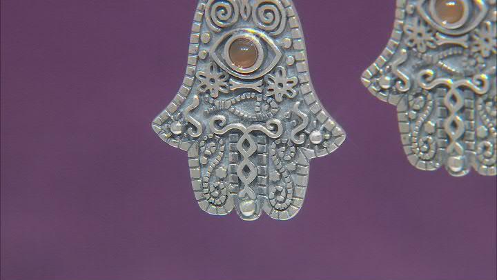 Onyx Sterling Silver Hamsa & Evil Eye Earrings