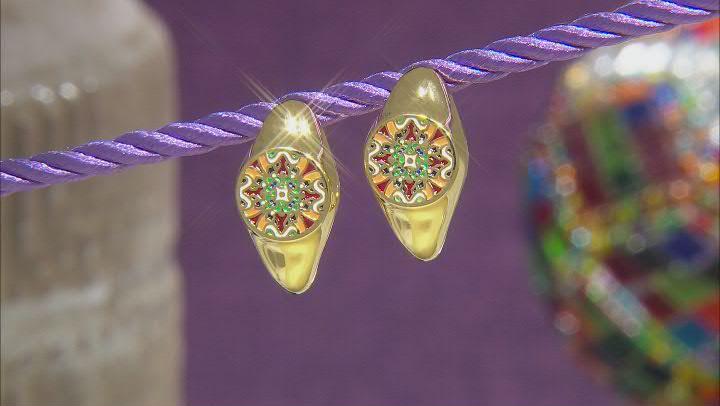 Multi-Color Enamel 18k Gold Over Silver Earrings