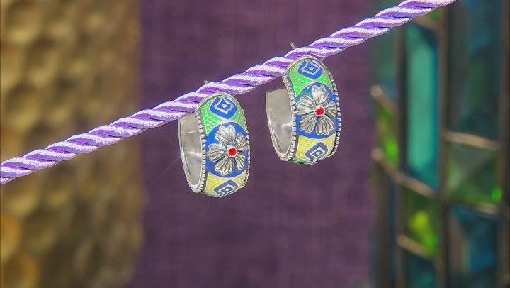 Enamel Sterling Silver Hoop Earrings