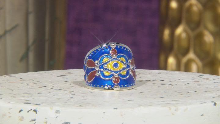 Multi-Color Enamel With Blue Lapis Evil Eye Sterling Silver Ring