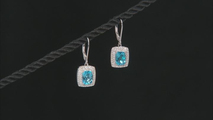 Swiss Blue Topaz Sterling Silver Dangle Earrings 3.42ctw