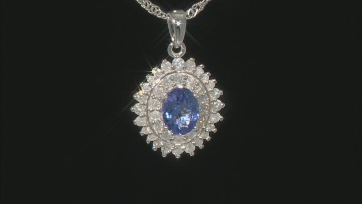 Blue Tanzanite Rhodium Over Sterling Silver Pendant With Chain 1.97
