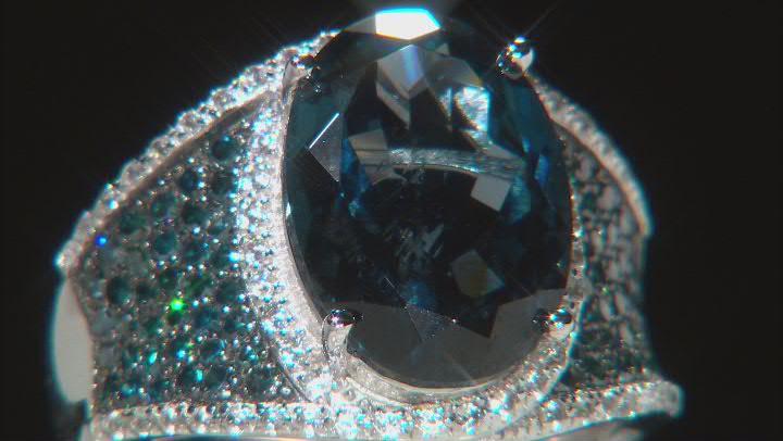 London blue topaz rhodium over silver ring 7.20ctw