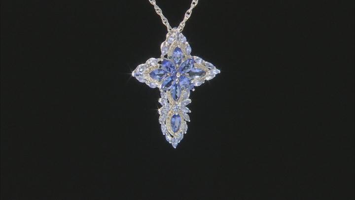 Blue Tanzanite Rhodium Over Silver Pendant With Chain 6.71ctw