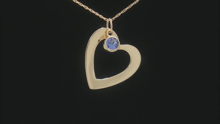 "Blue Tanzanite 14K Yellow Gold Heart Pendant With Chain 0.72"" L X 0.73"" W."