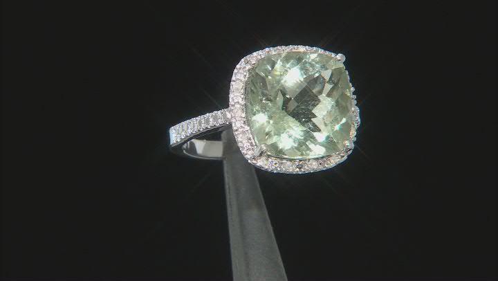 Green Prasiolite Rhodium Over Sterling Silver Ring 6.50ctw