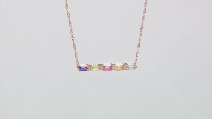 Blue Topaz 18k Rose Gold Over Silver Bar Necklace 1.52ctw