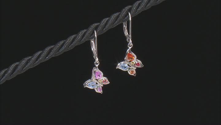 Multi-Sapphire Rhodium Over Silver Butterfly Dangle Earrings 0.86ctw