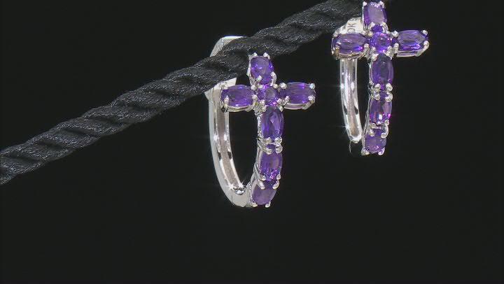 Purple Amethyst Rhodium Over Sterling Silver Hoop Earrings 2.34ctw
