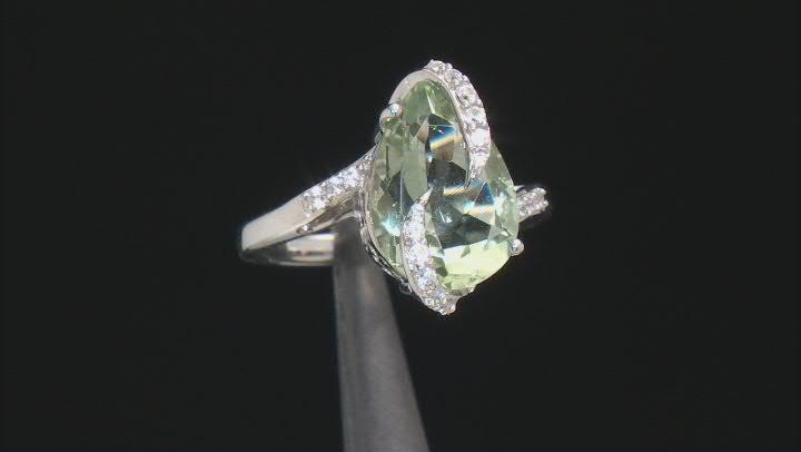 Green Prasiolite Rhodium Over Sterling Silver Ring 4.23ctw