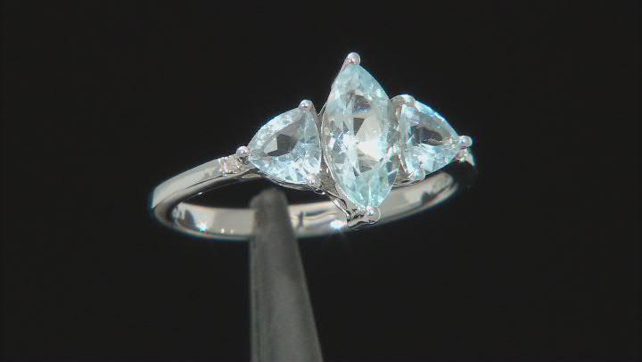 Blue Aquamarine Rhodium Over Sterling Silver Ring 1.57ctw