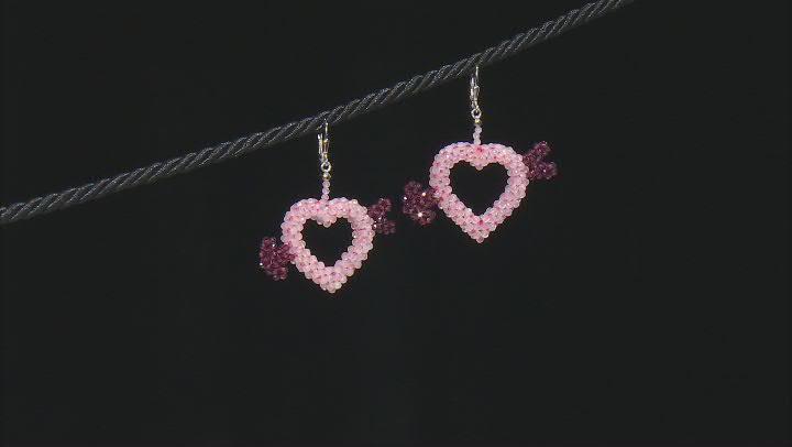 Pink Rose Quartz Rhodium Over Silver Heart Earrings