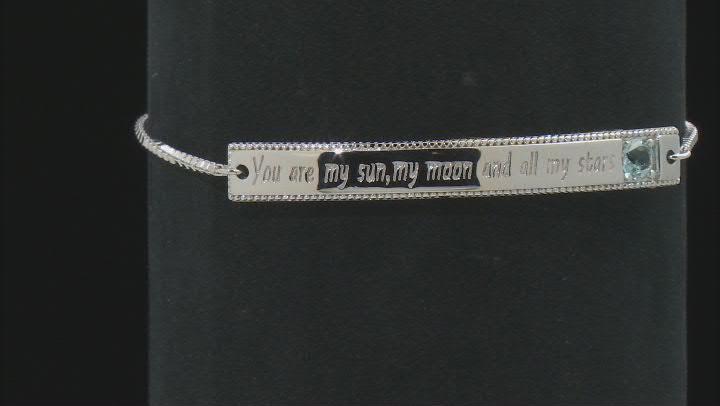 Sky Blue Topaz Rhodium Over Sterling Silver Bolo Bracelet 0.27ctw