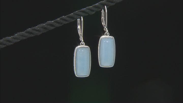 Blue Angelite Rhodium Over Sterling Silver Dangle Earrings