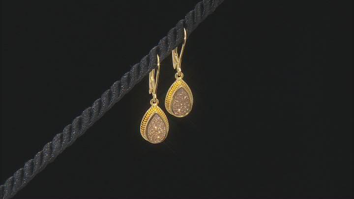 Golden Drusy Quartz 18k Yellow Gold Over Sterling Silver Dangle Earrings
