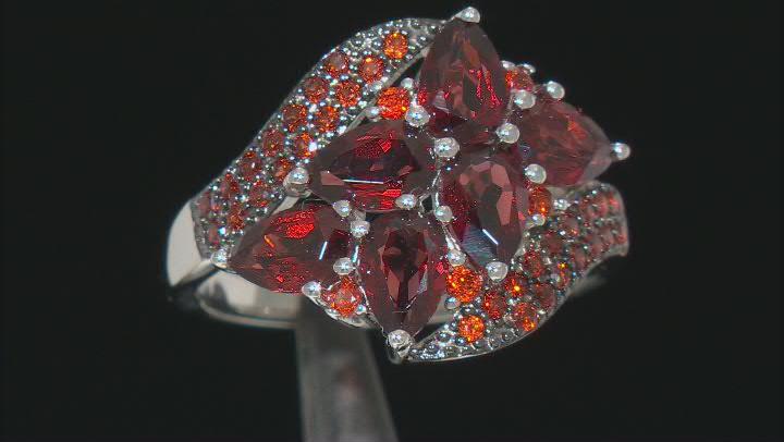 Red Garnet Rhodium Over Sterling Silver Ring 3.01ctw