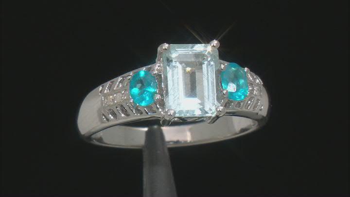 Blue Aquamarine Rhodium Over Sterling Silver Ring 1.87ctw