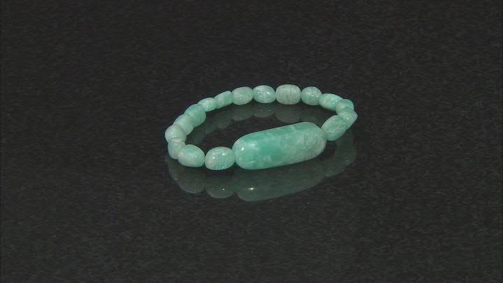 Green Amazonite Beaded Stretch Bracelet.