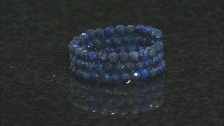 Round Onyx, Red Garnet, Lapis Lazuli, Aquamarine, Amethyst Set Of 5 Beaded Wrap Rings 2.3mm Round