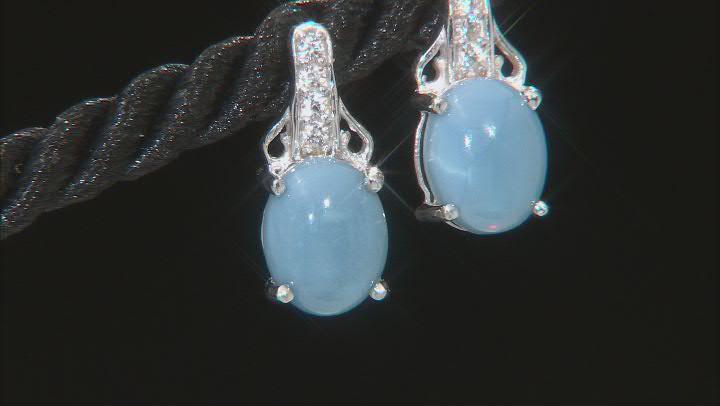 Blue Opal Rhodium Over Sterling Silver Drop Earrings .14ctw