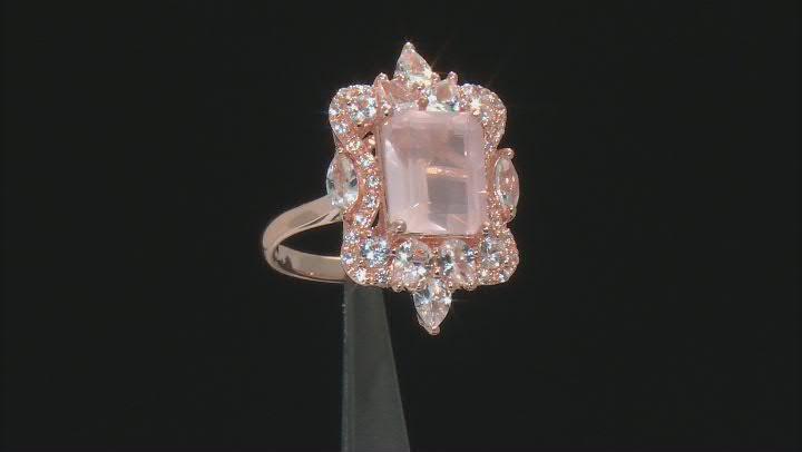 Pink Rose Quartz 18k Rose Gold Over Sterling Silver Ring 1.58ctw